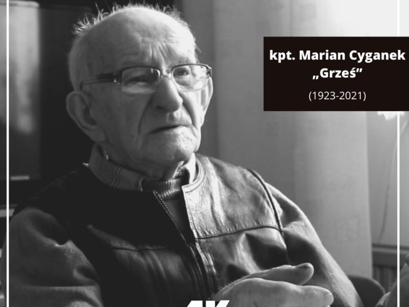 """Zmarł kpt. Marian Cyganek """"Grześ"""""""